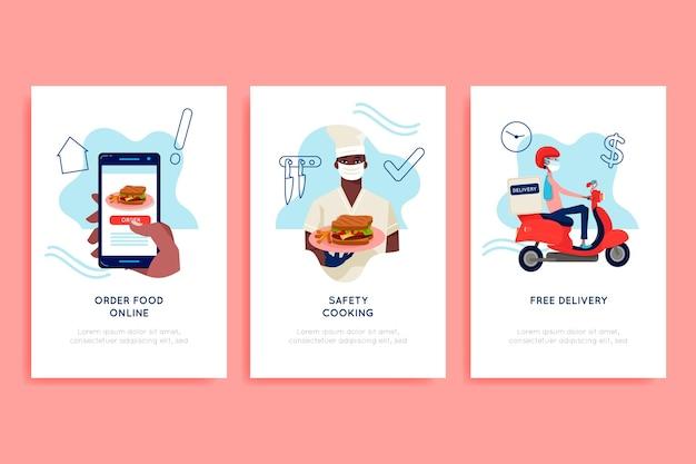 Écrans D'intégration De L'application De Livraison De Nourriture Vecteur gratuit