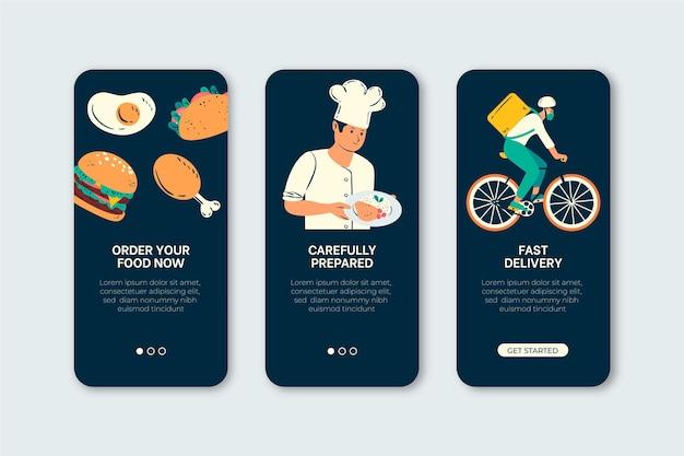 Écrans D'intégration De Livraison De Nourriture Vecteur gratuit