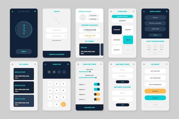 Écrans D'interface De L'application Bancaire Vecteur gratuit