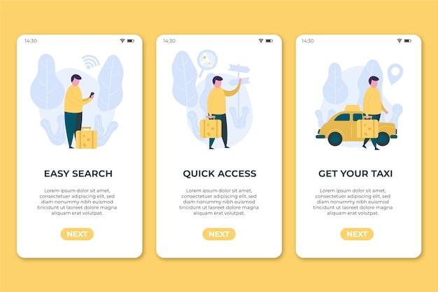 Écrans De Téléphone Mobile De L'application De Service De Taxi Vecteur gratuit