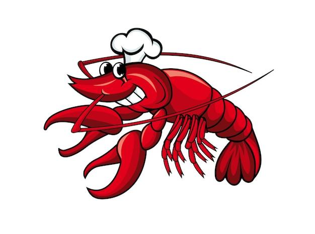 Écrevisses rouges souriantes ou crevettes isolées sur blanc Vecteur Premium