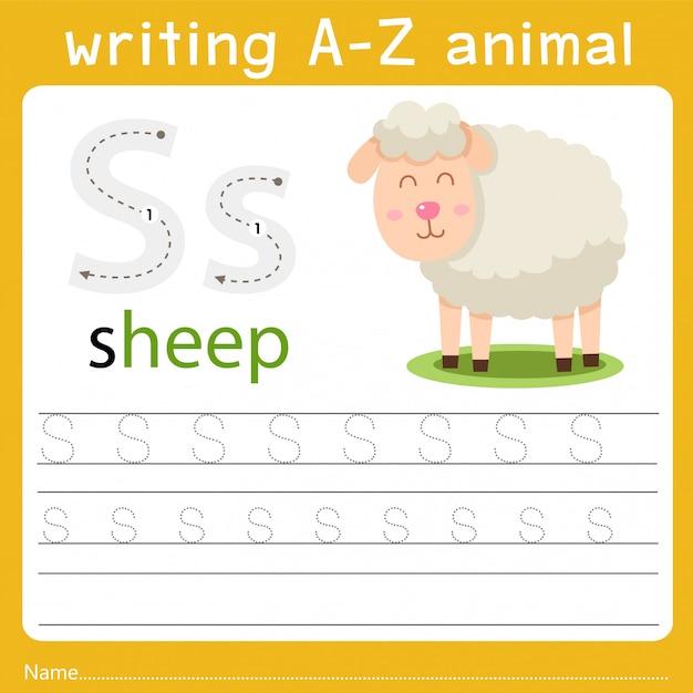 Écrire un animal s Vecteur Premium