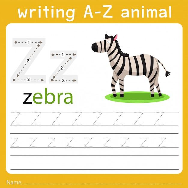 Écrire Un Animal Z Vecteur Premium