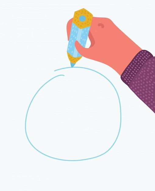 Écrire Ou Dessiner Une Main Avec Un Stylo. Icône De Croquis De Contour Modifiable. Vecteur Premium