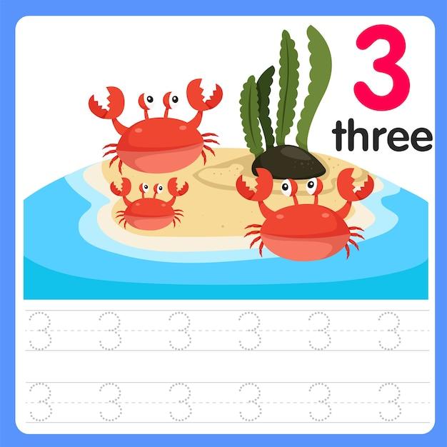 Écrire Le Numéro Trois Sur La Mer Vecteur Premium