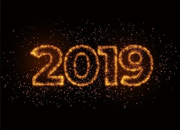 Écriture 2019 à effet de particules scintillantes et brillantes Vecteur gratuit