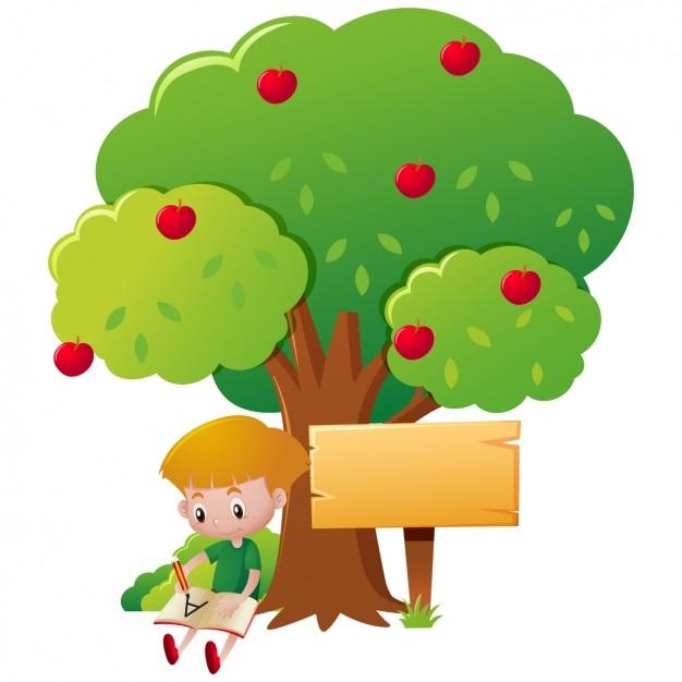 L'écriture de garçon sous un arbre Vecteur gratuit