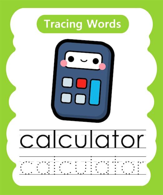 Écriture De Mots Pratiques Alphabet Traçage C - Calculatrice Vecteur Premium