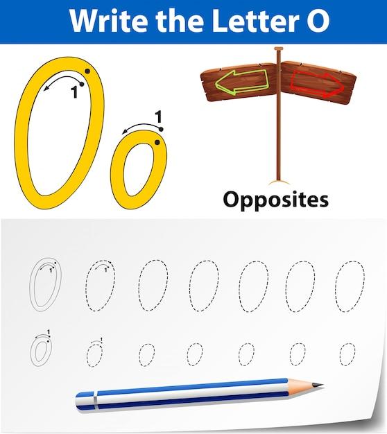 Écrivez la carte anglaise lettre o Vecteur Premium