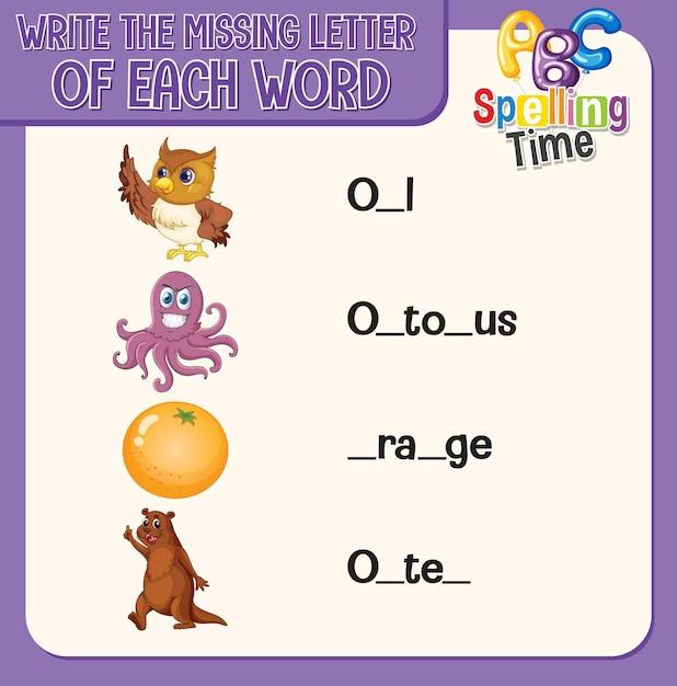 Écrivez La Lettre Manquante De Chaque Feuille De Calcul Pour Les Enfants Vecteur gratuit