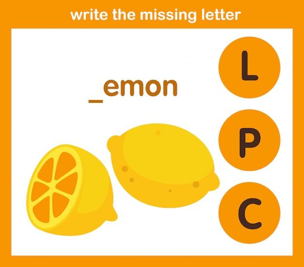Écrivez la lettre manquante Vecteur Premium