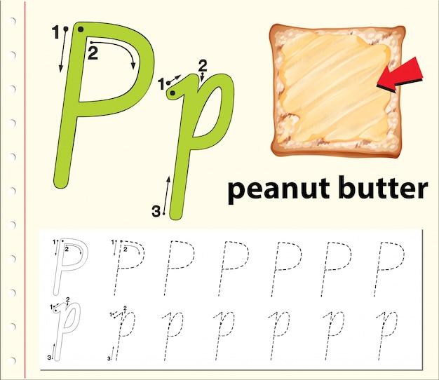Écrivez la lettre p anglaise Vecteur Premium