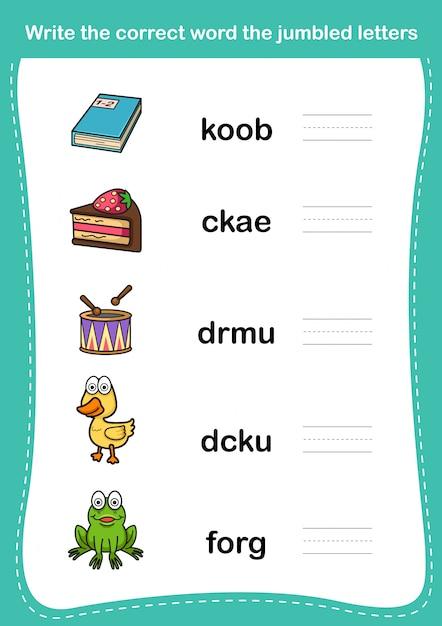 Écrivez Le Mot Correct Les Lettres Brouillées Vecteur Premium