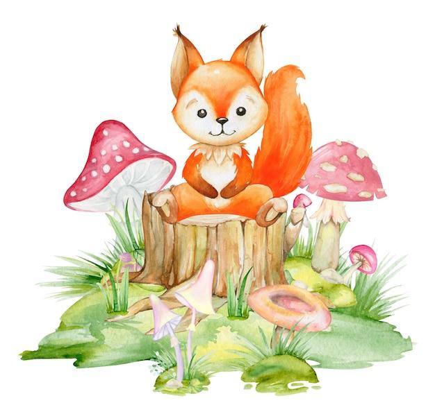 Écureuil, Un Animal Mignon Dans Un Style Cartoon. Vecteur Premium