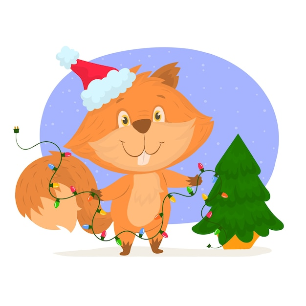 Écureuil Avec Bonnet De Noel Et Arbre De Noël Vecteur Premium