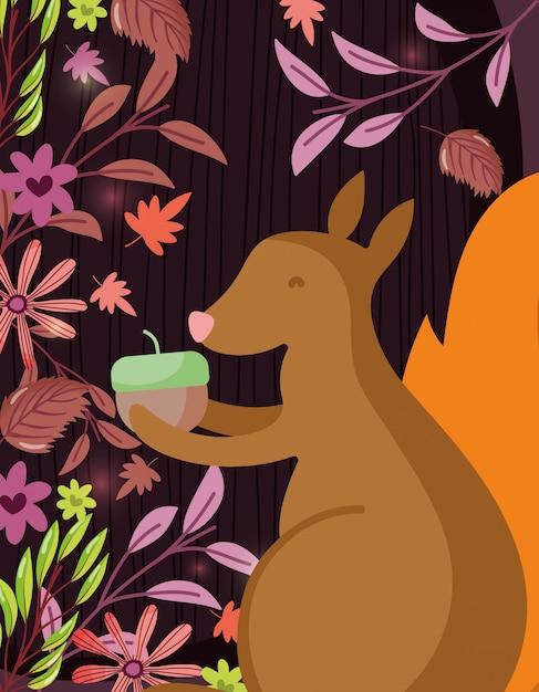 Écureuil, gland, bonjour, automne, illustration Vecteur Premium