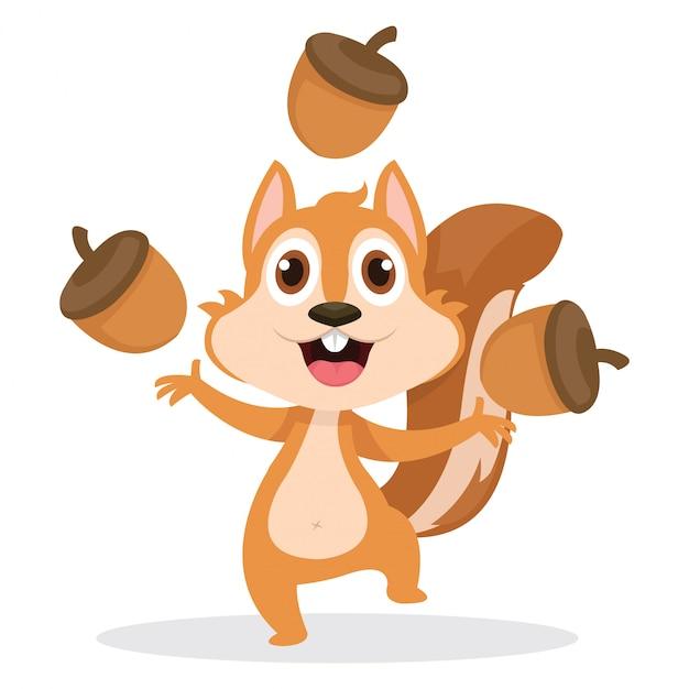 Un écureuil heureux jouant avec beaucoup de glands Vecteur Premium