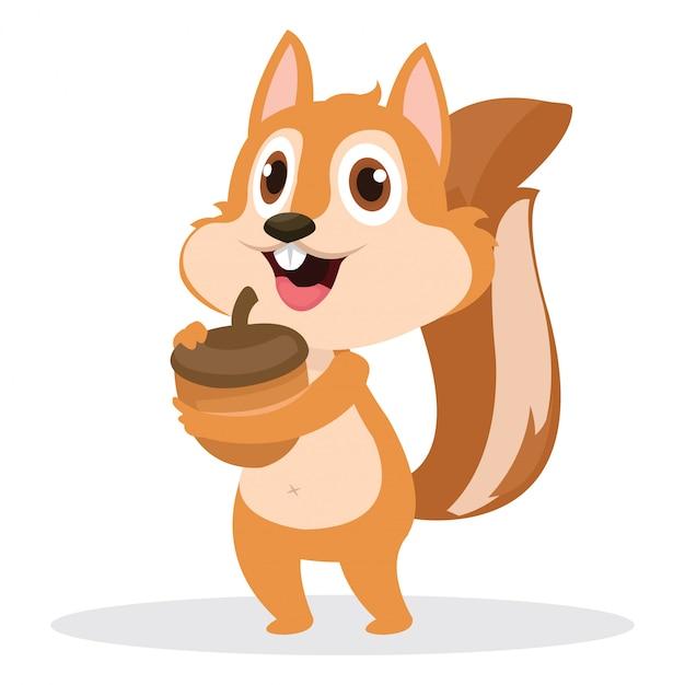 Écureuil mignon avec gland isolé sur blanc Vecteur Premium