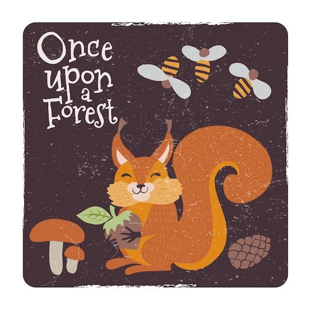 Écureuil mignon avec noix et champignons et abeille Vecteur Premium