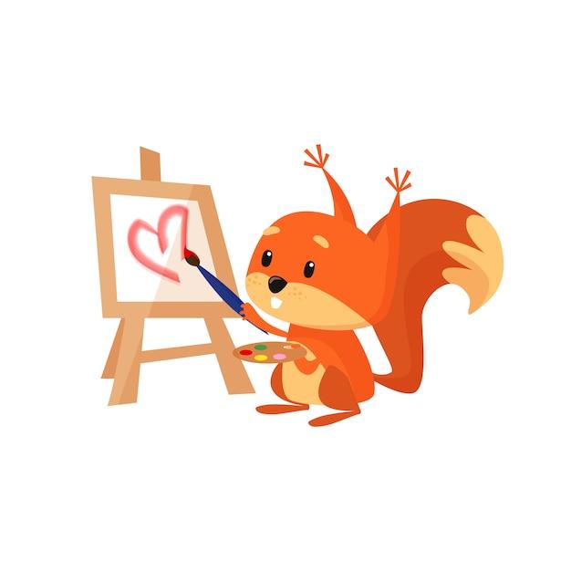 Écureuil mignon peinture coeur rose Vecteur gratuit