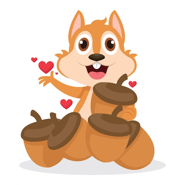 Écureuil mignon très heureux après avoir reçu beaucoup de glands Vecteur Premium