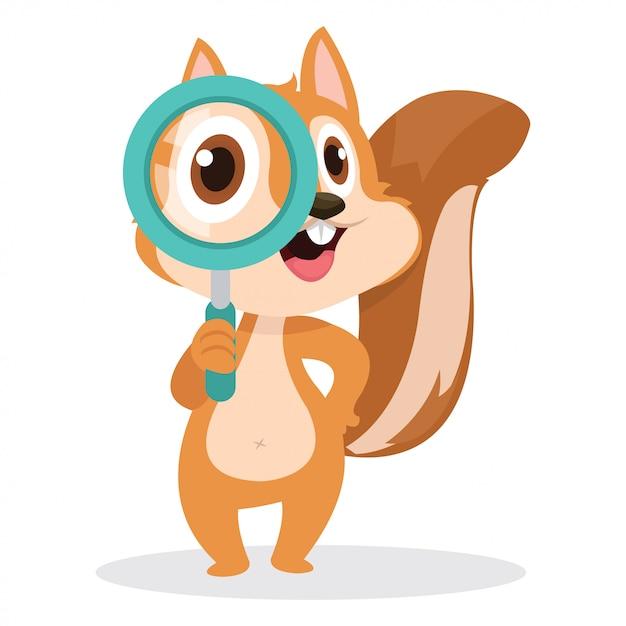 Écureuil mignon utiliser une loupe pour trouver sa nourriture Vecteur Premium