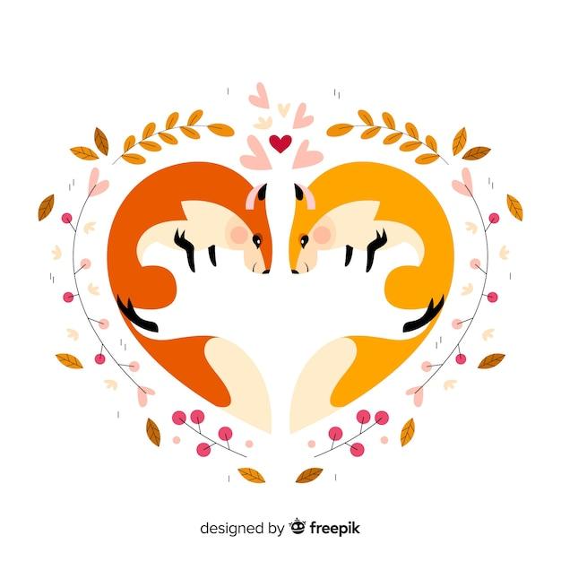 Écureuils mignons formant un coeur Vecteur gratuit