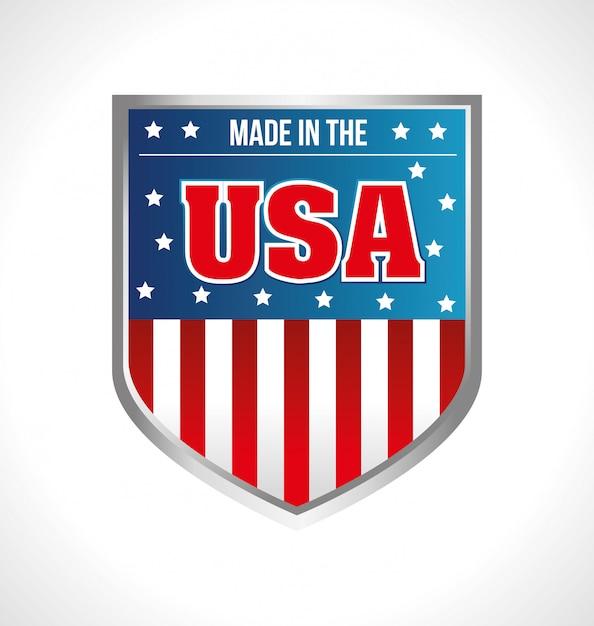Écusson emblème fabriqué aux états-unis Vecteur gratuit