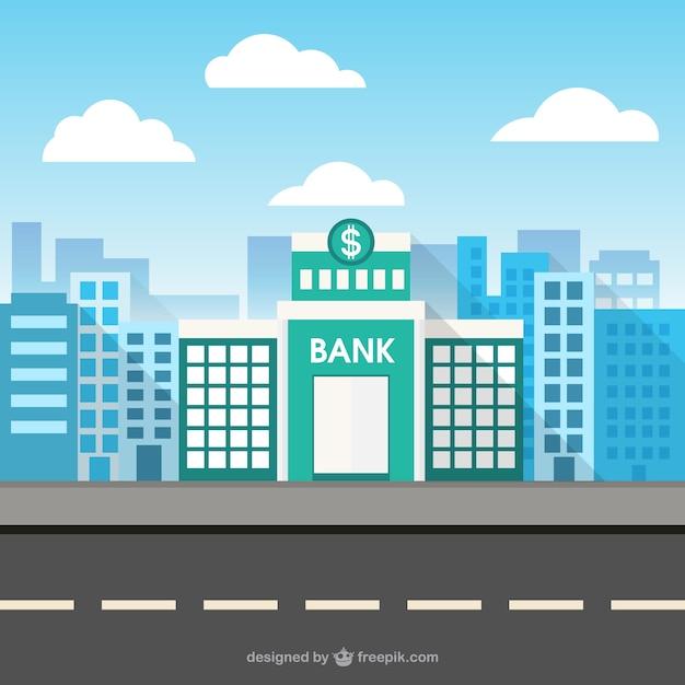 Édifice de la banque dans l'espace de la ville Vecteur gratuit