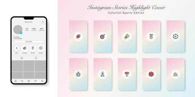 Édition Sportive Instagram Stories Highlight Covers Design Vecteur Premium