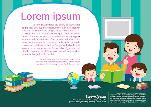 Éducation Et Apprentissage, Concept D'éducation Avec Fond De Famille Vecteur Premium
