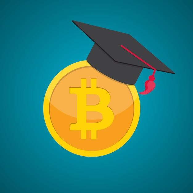 Education et argent, concept de remise des diplômes chapeau et pièces de monnaie à plat Vecteur Premium