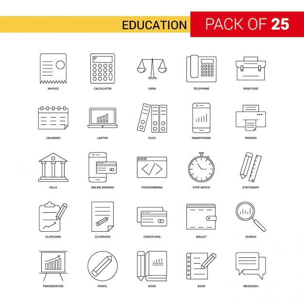 Education Black Line Icon - Jeu d'icônes de contour 25 affaires Vecteur gratuit