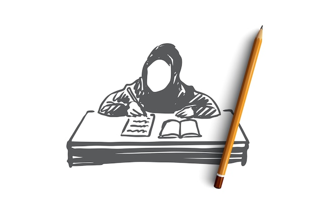 Education, école, Apprentissage, Musulman, Arabe, Concept De L'enfant. Fille Musulmane Dessinée à La Main Apprenant Avec Croquis De Concept De Livre. Vecteur Premium