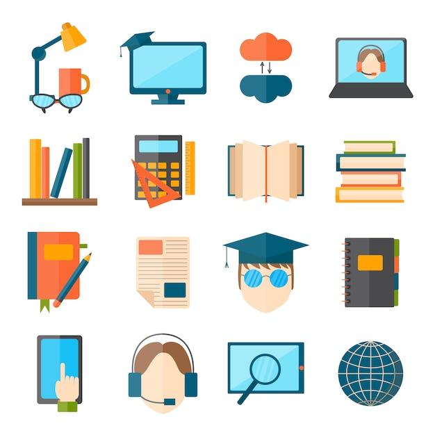 Education et école vecteur web icon set symboles de diplômés de formation collégiale. Vecteur Premium
