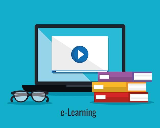 Éducation électronique avec ordinateur portable vector illustration design Vecteur Premium