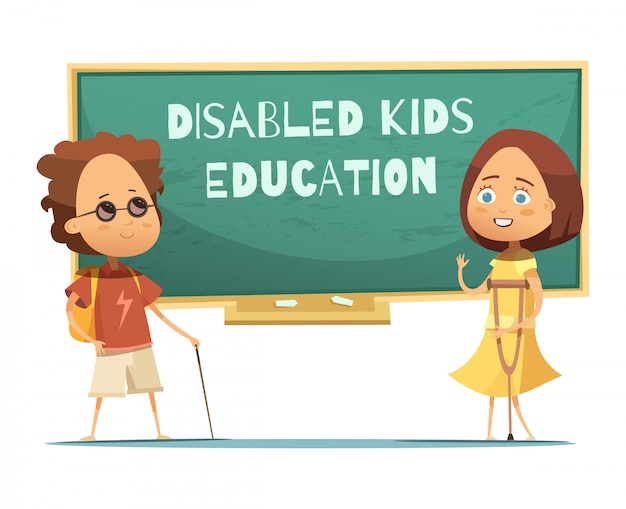 L'éducation des enfants handicapés design avec garçon et fille aveugle Vecteur gratuit