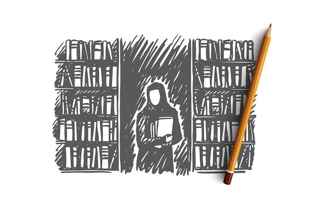 Education, étudiant, Musulman, Islam, Concept De Bibliothèque. Main Femme Musulmane Dessinée Dans La Bibliothèque Avec Croquis De Concept De Livres. Vecteur Premium