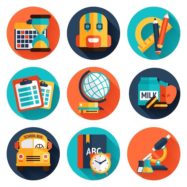 Education flat icons set Vecteur gratuit