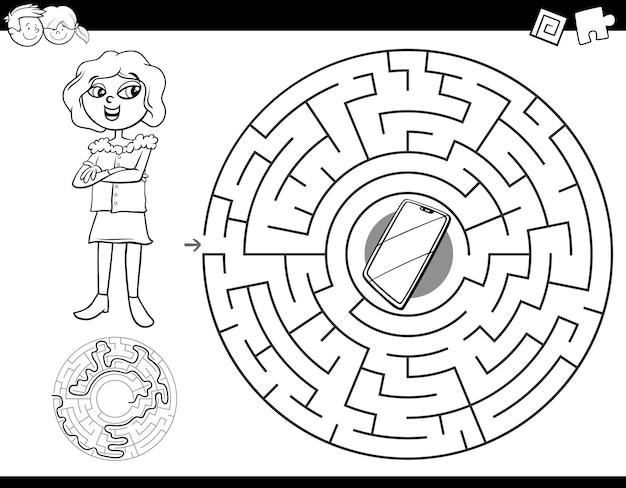 Education labyrinth labyrinth jeu pour les enfants Vecteur Premium