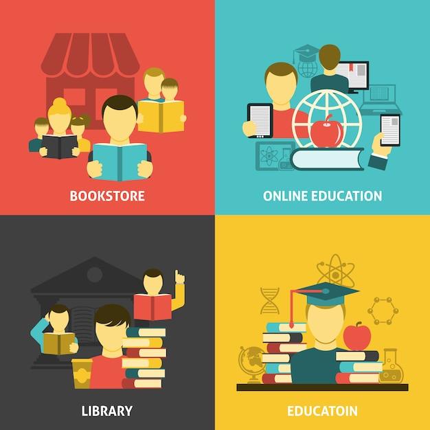 Education lecture bannière carrée icônes plates Vecteur gratuit