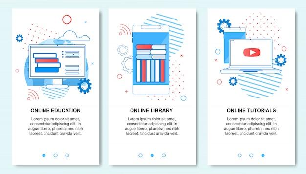 Education en ligne, bibliothèque, service de tutoriels sur smartphone Vecteur Premium