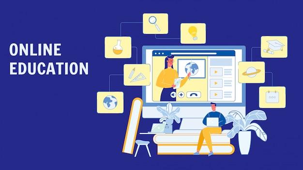 Education en ligne, cours vector layout Vecteur Premium