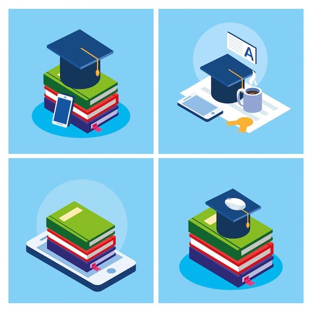 L'éducation En Ligne Définie Des Icônes Vecteur Premium