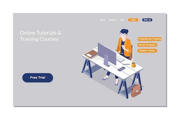 Education en ligne, e-learning, cours web. Vecteur Premium