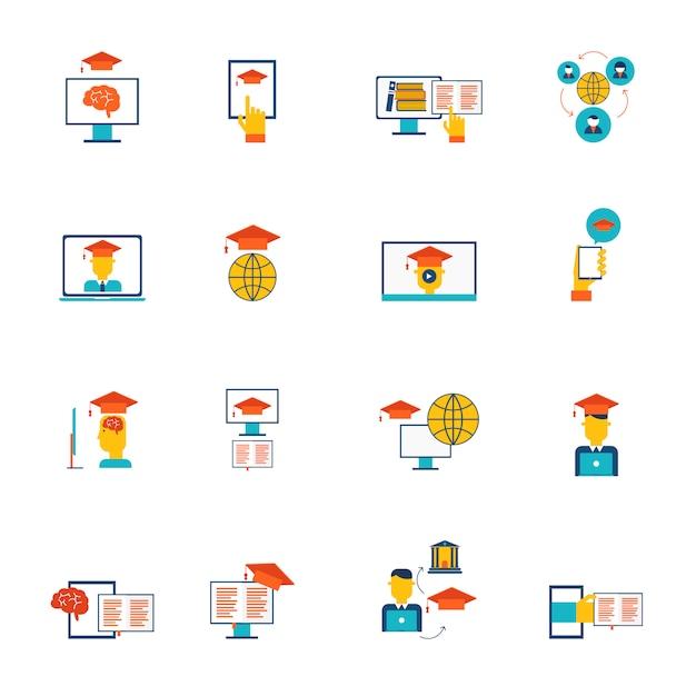 Éducation en ligne e-learning formation icônes et remise des diplômes plat set isolé illustration vectorielle Vecteur gratuit