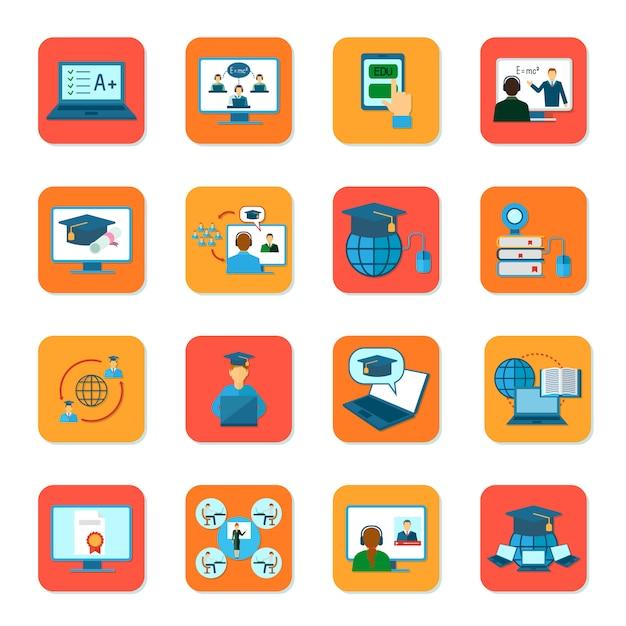 Education en ligne enseignement et remise des diplômes icônes définies illustration vectorielle isolé Vecteur Premium