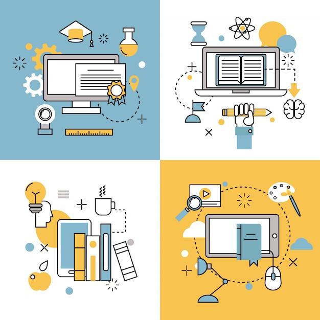 L'éducation en ligne icônes minces contour vectorielles ensemble d'école distance et symboles de webinaire Vecteur Premium
