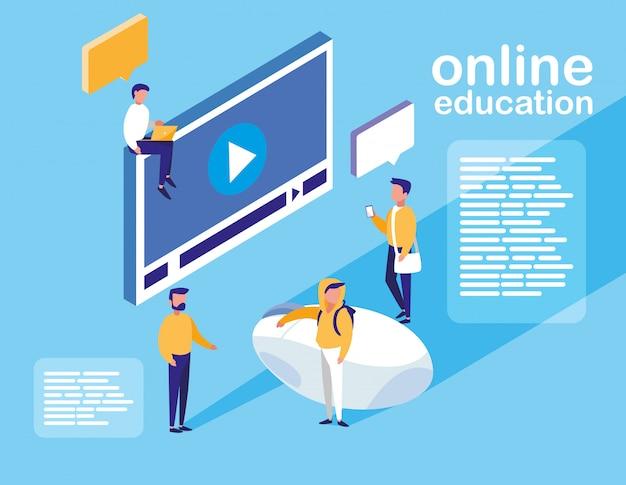 Education En Ligne Avec Lecteur Multimédia Et Mini-personnes Vecteur Premium