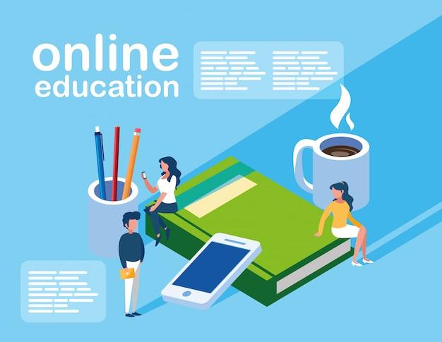 Education en ligne mini personnes avec smartphone et ebooks Vecteur Premium